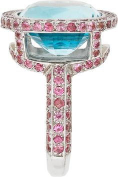 Blue Topaz and Pink Sapphire Ring in White Gold