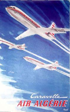 caravelle jet air algerie more vintage graphics air algerie airlines ...