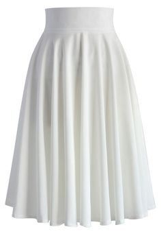 Creamy Pleated Midi Skirt in White - New Arrivals - Retro, Indie and Unique Fashion