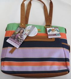 Zaza Lunch Tote Purple Orange Green Stripes Compartments Ice Pack NEW Insulated #Zaza