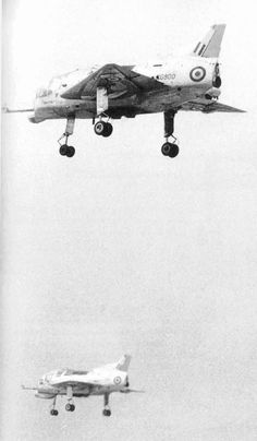 Short SC.1 - demonstration of both prototypes (XG900 and XG905) at Royal Aviation Establishment in Bedford. Short SC.1 (first flight 1957 (CTOL), 1958 (VTOL)) was the first British fixed-wing vertical take-off and landing (VTOL) aircraft. The SC.1 was designed to study the problems with VTOL flight and the transition to and from forward flight.