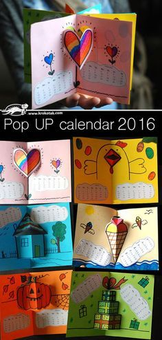 2016 Pop Up Calendar books for kids (includes templates and calendar printables) - what a fun project!: