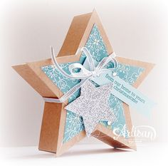 star chipboard box - Stars Framelits, All is Calm DSP, Holiday Home stampset - Inge Groot- Christmas Paper Crafts, Stampin Up Christmas, Christmas Projects, Paper Packaging, Pretty Packaging, Star Cards, Hand Stamped Cards, Stampin Up Catalog, Advent