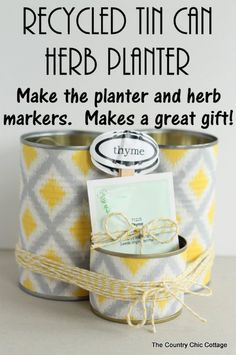 Recycled Tin Can Herb Planter - DIY Gift World