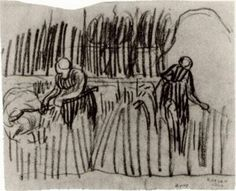 Two Women Working in Wheat Field by @artistvangogh #postimpressionism