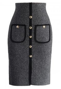 Studded Pockets Knitted Pencil Skirt in Grey - Bottoms - Retro, Indie and Unique Fashion