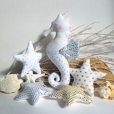 Plush Seahorse toy white stuffed seahorse by #CherryGardenDolls #seahorse #nautical #coastal #toys #nursery #white