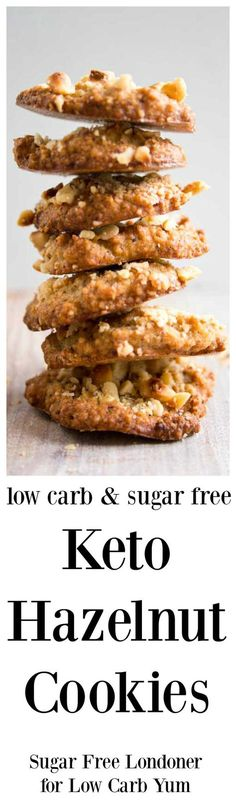 These easy hazelnut keto cookies have only 5 ingredients! They are light and fluffy on the inside, crunchy on the outside and fantastic as a treat with some nut milk or with a cup of coffee. | LowCarbYum.com via @lowcarbyum