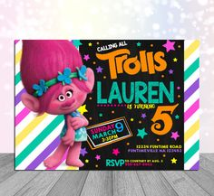 Personalized Trolls Birthday Invitation  Have a magical Trolls Birthday Celebration with a personalized Colorful style Invitation.  DIGITAL FILE- Print as you need! Available in 6x4 and 5x7  Perfect for discount photo prints!  24Hour Turn Around Mon-Fri 48Hour Turn Around Sat-Sun  Please Forward Party Details With Order Name Age Date Time Address Rsvp Details 6x4 or 5x7 Size   (Orders period will only be commenced once all details are received)   This is for a Digital File only. No physical…