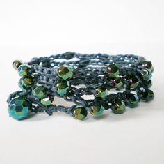 crochet wrap bracelet, crochet necklace, green bead wrap bracelet, party wrap bracelet, bohemian jewelry, hipster bracelet, gift for her by jcudesigns on Etsy