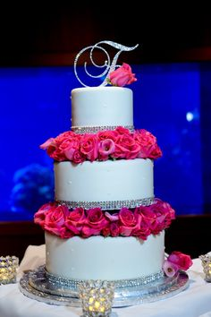 Pretty in pink rose and bling #Disney wedding cake