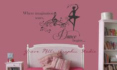Dance Wall Decal  Girls Room decal  Dancing by GroveMillsGraphics, $30.00