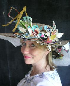 Paper hats are the perfect attire for any celebration. Our friend, Alyn Carlson is wearing her own design.