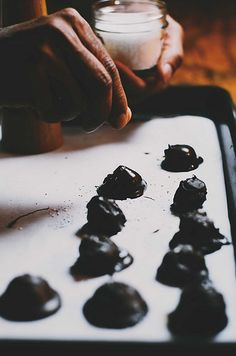 Dark Chocolate Pumpkin and Almond Truffles with Sea Salt and Black Pepper | A Brown Table