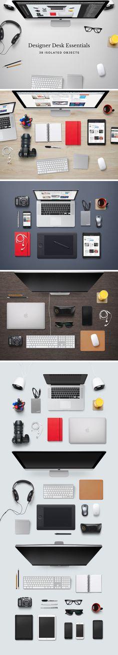 Free Designer Desk Essentials Mockup by GraphicBurger #mockup #heroimages