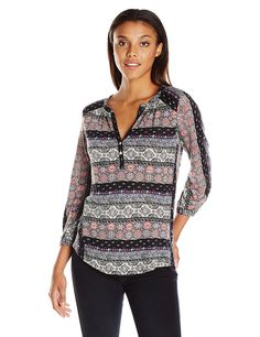 fa977580eb0fc Lucky Brand Women s Mixed Stripe Top  Lucky Brand missy long sleeve fashion  knit top with all-over multi-colored print