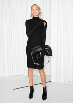 & Other Stories image 2 of Second Skin Turtleneck Dress  in Black