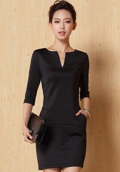 "BLACK DRESS Black Plain Half Sleeve Mini Dress--forget the ""mini"" part, but I want this dress in knee length.tailor here I come. Cute Dresses, Beautiful Dresses, Short Dresses, Look Fashion, Womens Fashion, Street Fashion, Korean Fashion, Mini Dress With Sleeves, Mode Outfits"