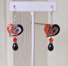 Cincinnati Bengals Playing Our Hearts Out Black Swarovski Pearl and Orange Crystal Leverback Earrings by scbeachbling on Etsy