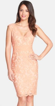 Embroidered lace sheath dress in blush