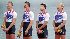 Pete Reed, Andrew Triggs Hodge, Alex Gregory and Tom James of Great Britain celebrate with their gold medals during the medal ceremony for the men's Four Final on Day 8 of the London 2012 Olympic Games at Eton Dorney