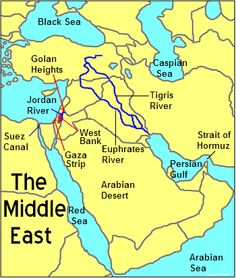 This picture shows the different physical features of countries in The Middle East. It shows the Tigris River,the Euphrates River, The Strait of Hormuz, The Jordan River,etc.