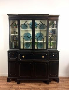 China Cabinet in Lamp Black & Antique White Milk Paint Affordable Furniture, Cabinet, Black China Cabinet, Black Painted Furniture, Black Lamps, Dinning Room Decor, Milk Paint, Repurposed Furniture, Vintage Furniture
