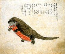 """Monster rising up from the Osaka Kinjo moat, June 9, 1866 (Keio 2)"" (Edo period, Museum collection)"