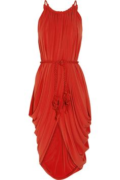 Draped belted crepe-jersey dress by Lanvin