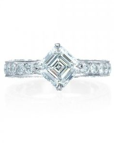 I have found the setting of my dreams. Royal Asscher Princess Engagement ring, center diamond in a kite setting. How gorgeous! Maybe with a thinner band, though. Vintage Oval Engagement Rings, Engagement Rings For Men, Designer Engagement Rings, Diamond Engagement Rings, Princess Cut Rings, Princess Cut Diamonds, Brautring Sets, Gold Diamond Wedding Band, Bridal Ring Sets