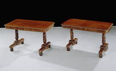 A rare pair of early 19th Century mahogany Library Writing Tables having beaded edge and rectangular tops above beaded friezes containing concealed drawers. The tables raised on ornately turned and reeded column end supports supported on beaded plinths with 'melon' feet enclosing concealed castors. For similar design see Gillows sketch book dated 1824. Circa: 1824