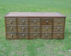 Library Card Catalog - 15 Drawer Wood Storage