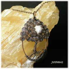 Copper tree of life pendant with moon pearl