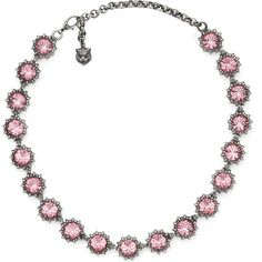 Gucci Necklace With Crystals (24.820 CZK) ❤ liked on Polyvore featuring jewelry, necklaces, light pink, gucci jewelry, gucci necklace, adjustable chain necklace, metal jewelry and metal necklace
