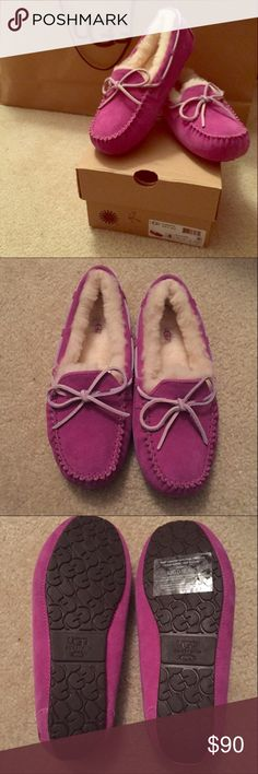 NWT Purple Ugg Slippers (Kids/Women's) New in box Ugg slippers!  I have one pair that is a kid's 5, which is equivalent to a women's 7!                    100% Authentic!!     Second to the Last Picture is of Kid's sizes on Ugg website! UGG Shoes Moccasins