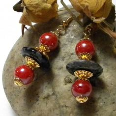 Black Obsidian With Red Baubles & Gold Findings by marilyn1545, $20.00