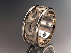 14kt rose gold diamond leaf and vine wedding ring,engagement ring,wedding band ADLR 121. $995.00, via Etsy.