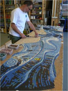 Mosaic artist Gary Drostle at work -  Zone One Arts