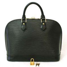 MINT! $2010 LOUIS VUITTON EPI ALMA Black LV Handbag w/ Lock & Keys Authentic