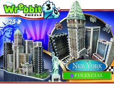 """Reach for the sky by assembling the tallest and most famous skycrapers of the Financial disctrict of New York City. This 925 pieces 3D puzzle includes Trump Building (1930), Battery Park and the iconic Statue of Liberty (1886). Combine all 4 puzzles of the New York Collection.and get a 3D puzzle of over 3 575 pieces925 pieces3D puzzleMade by WrebbitCompleted puzzle measures 12.5"""" x 12.99 x 18.11"""""""