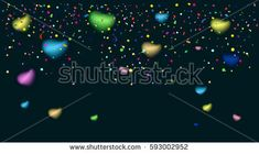 Confetti poster. Abstract background with colorful confetti, bright sparkles. Vector Carnival, Birthday, Holiday, Romance, Love, Night Party celebration. Festive background template advertising design