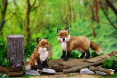 Dollhouse Miniature Red Foxes 1:12 Scale Artist Created and Furred  Visit my site on Etsy!