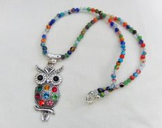 Very Cute Rhinestone Owl Pendant, Choice of Beaded Necklace, Jewellery, Gift, Birthday, Christmas, Handmade, Accessories, Gift for Friend by oswestryjewels. Explore more products on http://oswestryjewels.etsy.com