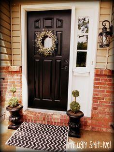 Front Door Idea.  Black door white trim.