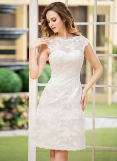 A-Line/Princess Scoop Neck Knee-Length Satin Lace Wedding Dress (002052768)