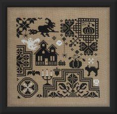 Jardin Prive Quaker D'Halloween - Cross Stitch Pattern. Model stitched on 32 Ct. Dirty Belfast Linen with DMC floss. Stitch count: 100W x 100H.