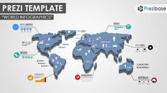 Prezi Template for presenting world map infographics, geography, politics, statistics, facts, business, reports, etc…  A zoomable blue 3D World map with icons, symbols, charts and lines – everything you need for a world related presentation.