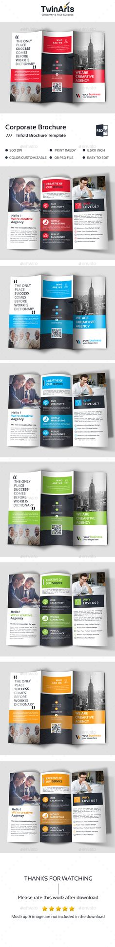 Trifold — Photoshop PSD #print ready #company • Available here → https://graphicriver.net/item/trifold/18013445?ref=pxcr