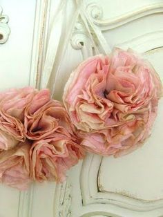 balls, flower ball, pom poms, southern bell, bells, coffee filter flowers, coffee filters, antiques, coffe filter