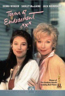 Terms of Endearment:    Aurora and Emma are mother and daughter who march to different drummers. Beginning with Emma's marriage, Aurora shows how difficult and loving she can be. The movie covers several years of their lives as each finds different reasons to go on living and find joy. Aurora's interludes with Garrett Breedlove, retired astronaut and next door neighbor are quite striking. In the end, different people show their love in very different ways.